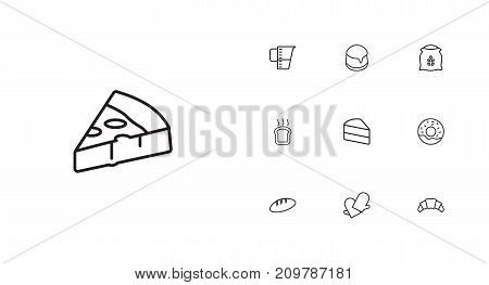 Collection Of Donuts, Flour, Measuring Cup And Other Elements.  Set Of 10 Food Outline Icons Set.