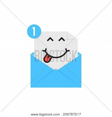 satisfied emoji in blue letter notification on white background