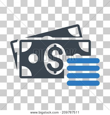 Dollar Cash icon. Vector illustration style is flat iconic bicolor symbol, smooth blue colors, transparent background. Designed for web and software interfaces.