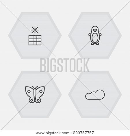 Collection Of Sun Power, Cloud, Butterfly And Other Elements.  Set Of 4 Bio Outline Icons Set.