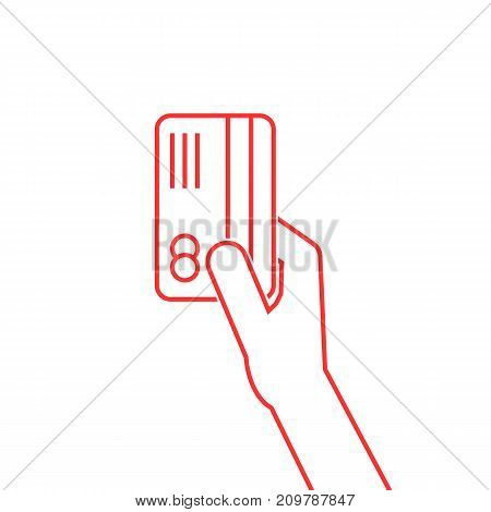 red thin line arm holding credit card on white background
