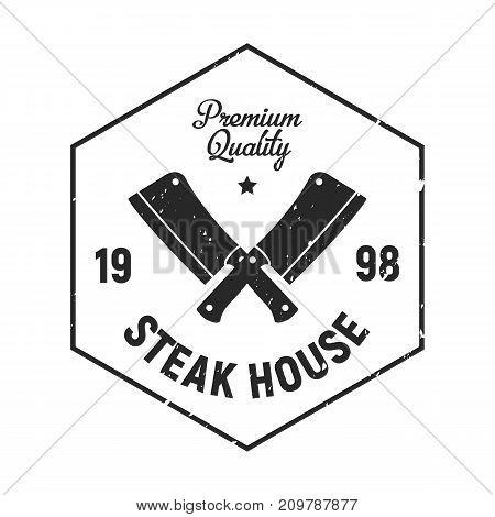 Vintage Steak House logo, badge and emblem - Meat Cleavers, meat knife icon
