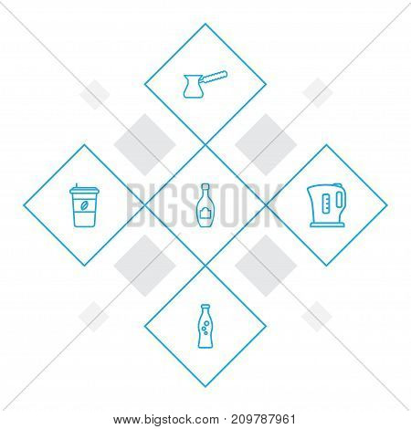 Collection Of Kettle, Champagne, Pot And Other Elements.  Set Of 5 Drinks Outline Icons Set.