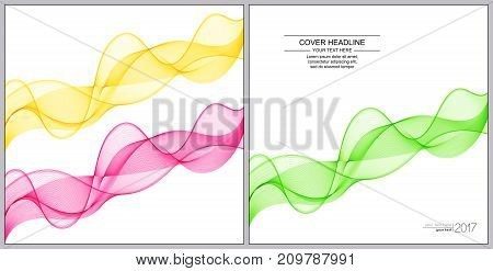 Universal Covers Design with Green Pink Yellow Wave Lines on White Background. Easy Editable. Set of Smooth Wavy Horizontal Curved Lines.