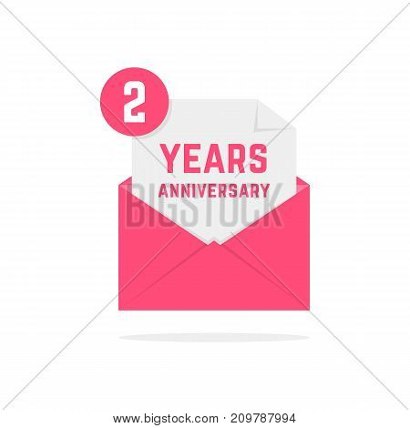 2 years anniversary icon in pink letter. concept of festive text, inbox, fun, notice, memorial, certificate, success, email, sms. flat style modern logotype graphic poster design on white background