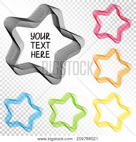 Set of Isolated Transparent Design Elements Blend Stars for White Background. Template for your Text Content Personal Information.