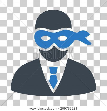 Masked Thief icon. Vector illustration style is flat iconic bicolor symbol, smooth blue colors, transparent background. Designed for web and software interfaces.