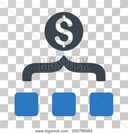 Money Aggregator icon. Vector illustration style is flat iconic bicolor symbol, smooth blue colors, transparent background. Designed for web and software interfaces.