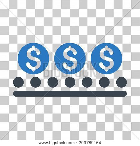 Money Conveyor icon. Vector illustration style is flat iconic bicolor symbol, smooth blue colors, transparent background. Designed for web and software interfaces.