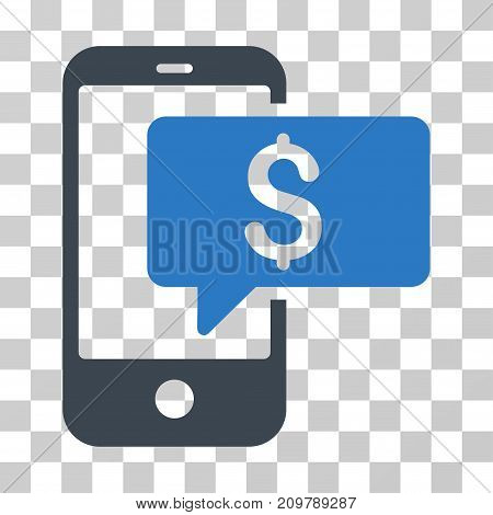 Money Phone SMS icon. Vector illustration style is flat iconic bicolor symbol, smooth blue colors, transparent background. Designed for web and software interfaces.