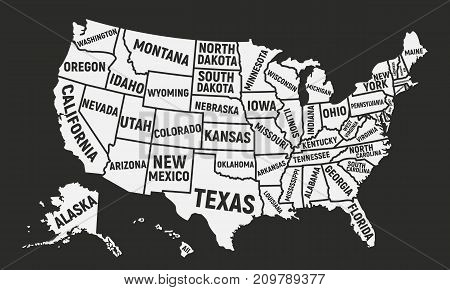 Poster map of USA with state names. United States of America map. American background