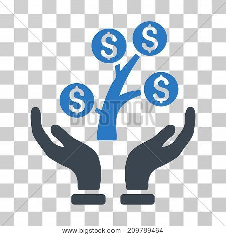 Money Tree Care Hands icon. Vector illustration style is flat iconic bicolor symbol, smooth blue colors, transparent background. Designed for web and software interfaces.