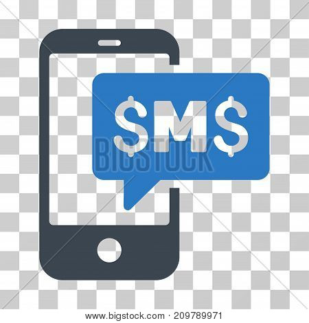 Phone SMS icon. Vector illustration style is flat iconic bicolor symbol, smooth blue colors, transparent background. Designed for web and software interfaces.