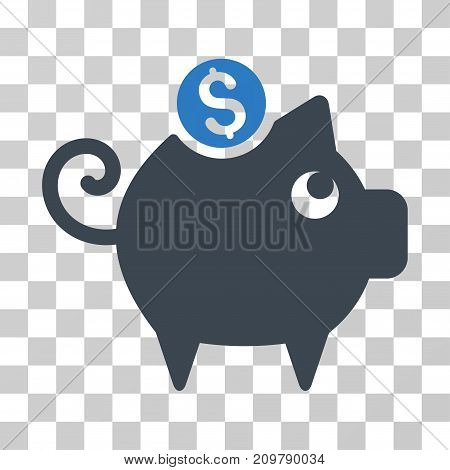 Piggy Bank icon. Vector illustration style is flat iconic bicolor symbol, smooth blue colors, transparent background. Designed for web and software interfaces.