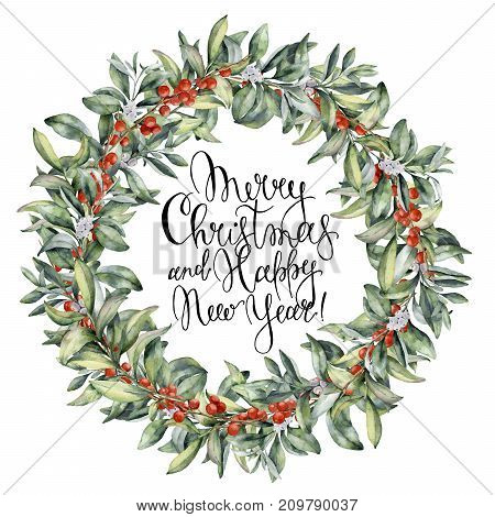 Watercolor Christmas floral wreath with berries. Hand painted snowberry branch with white and red berry isolated on white background. Christmas botanical frame for design or print. Holiday plant