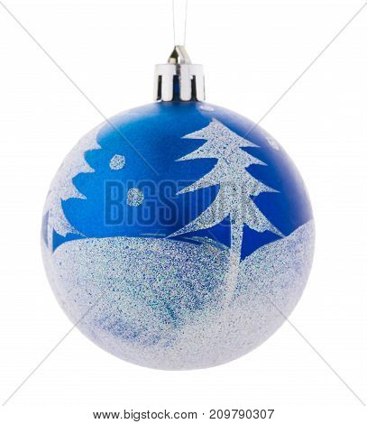 A beautiful blue shiny ball with white elements for Christmas tree isolated on a white background. New Year decoration for the house and pine. Holidays concept.
