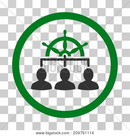 Management Steering Wheel icon. Vector illustration style is flat iconic bicolor symbol, green and gray colors, transparent background. Designed for web and software interfaces.