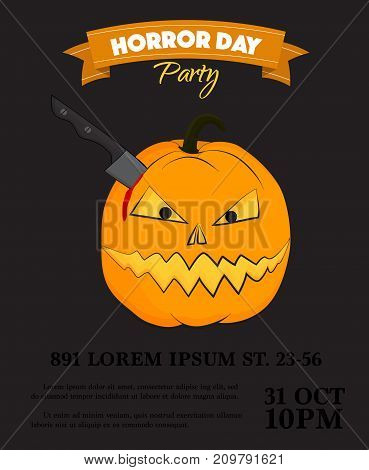 Vector halloween party invitation. Scary pumpkin with knife in head decoration poster. October 31 bloody cartoon character, autumn celebration black yellow design. Trick or treat poste