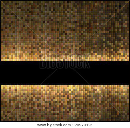 Multicolor Abstract Lights Gold Disco Background. Square Pixel Mosaic Vector