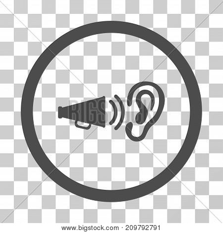 Listen Advertisement icon. Vector illustration style is flat iconic symbol, gray color, transparent background. Designed for web and software interfaces.