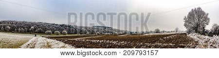 Beautiful frosty Winter Landscape in Hessen Germany