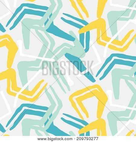 Vector grunge abstract expressive pattern.Brush stroke minimalistic print in grey blue colors. Pastel fresh dynamic background