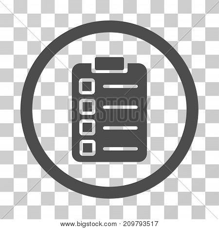 Test Task icon. Vector illustration style is flat iconic symbol, gray color, transparent background. Designed for web and software interfaces.