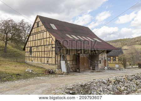 traditional barn in Hohenlohe a area in Southern Germany