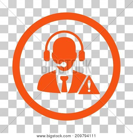 Emergency Service Operator icon. Vector illustration style is flat iconic symbol, orange color, transparent background. Designed for web and software interfaces.