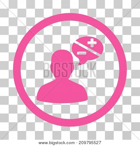 Person Arguments icon. Vector illustration style is flat iconic symbol, pink color, transparent background. Designed for web and software interfaces.