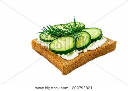Sandwich With Cheese, Cucumbers, Isolated On White Background