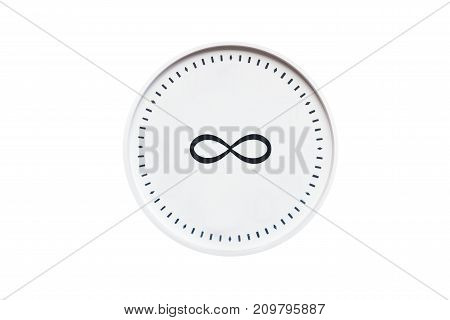 Round White Clock With Infinity Sign On White Isolated Background