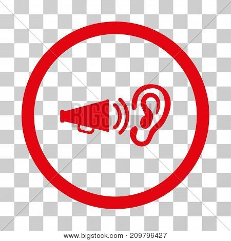 Listen Advertisement icon. Vector illustration style is flat iconic symbol, red color, transparent background. Designed for web and software interfaces.