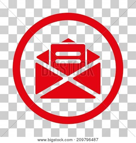 Open Mail icon. Vector illustration style is flat iconic symbol, red color, transparent background. Designed for web and software interfaces.