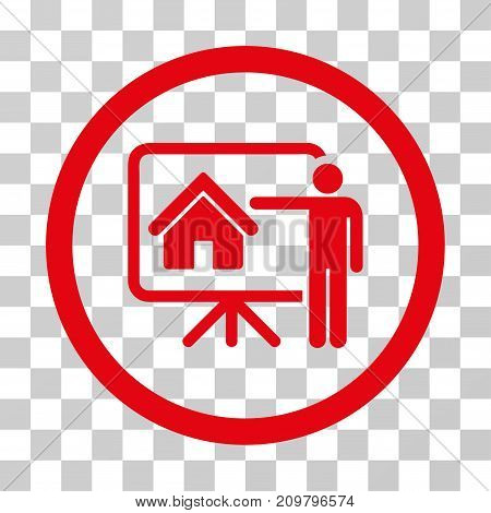 Realtor Presentation icon. Vector illustration style is flat iconic symbol, red color, transparent background. Designed for web and software interfaces.
