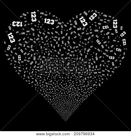 Digits fireworks with heart shape. Vector illustration style is flat white iconic symbols on a black background. Object stream combined from scattered symbols.