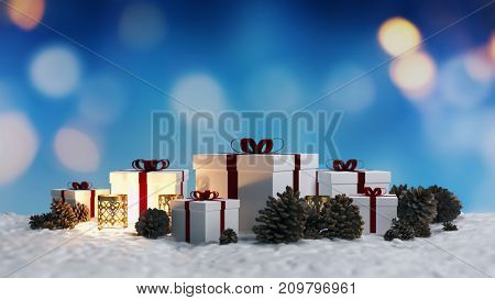 Christmas background with gifts and pine cones on a bed of fresh winter snow with a bokeh of sparkling lights and copy space for your seasonal greeting. 3d rendering
