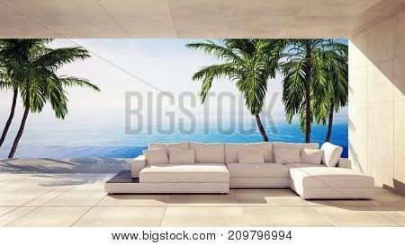 Spacious living room in a tropical villa overlooking the ocean and palm trees in a panoramic view. 3d rendering