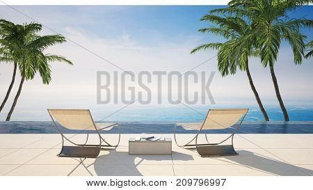 Rear view of two empty lounge chairs on a waterfront tiled sunny terrace against sea in an idyllic tropical travel destination with green palm trees. 3d rendering