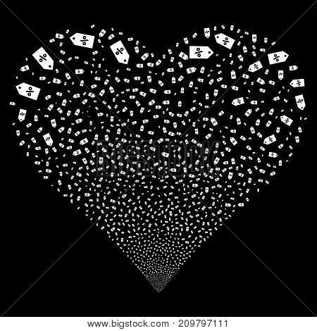 Discount Tag fireworks with heart shape. Vector illustration style is flat white iconic symbols on a black background. Object love heart organized from confetti symbols.