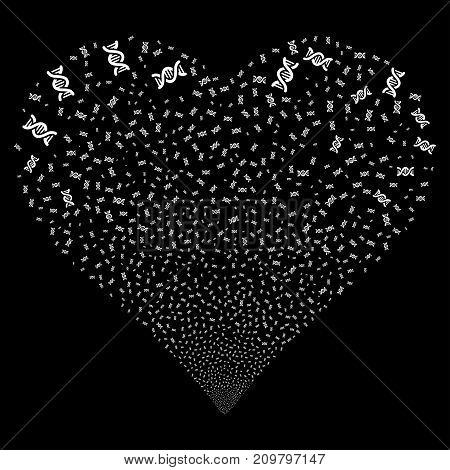 DNA Spiral fireworks with heart shape. Vector illustration style is flat white iconic symbols on a black background. Object valentine heart combined from scattered icons.