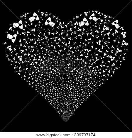 Doctor fireworks with heart shape. Vector illustration style is flat white iconic symbols on a black background. Object love heart constructed from random symbols.