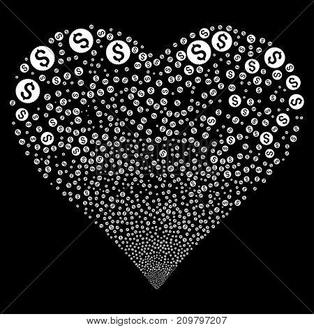 Dollar Coin fireworks with heart shape. Vector illustration style is flat white iconic symbols on a black background. Object valentine heart organized from confetti icons.