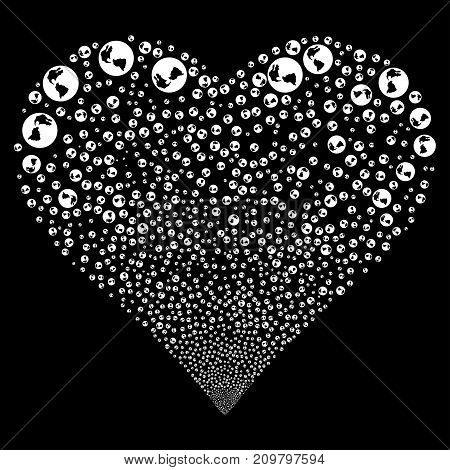 Earth fireworks with heart shape. Vector illustration style is flat white iconic symbols on a black background. Object salute constructed from confetti symbols.