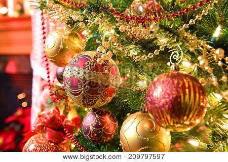 Elegant Christmas tree with ornaments and lights