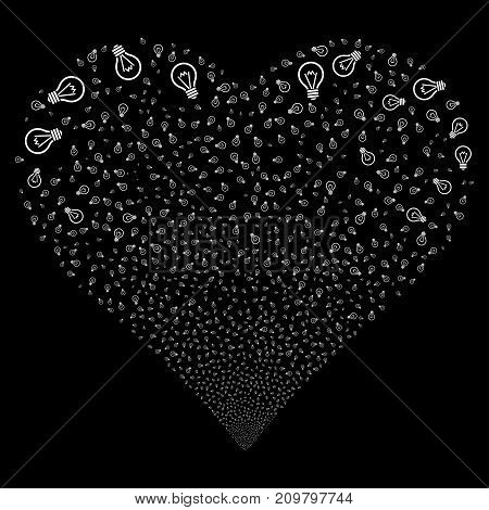 Electric Bulb fireworks with heart shape. Vector illustration style is flat white iconic symbols on a black background. Object heart combined from random design elements.