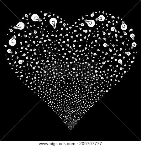 Electric Bulb fireworks with heart shape. Vector illustration style is flat white iconic symbols on a black background. Object valentine heart done from random pictographs.