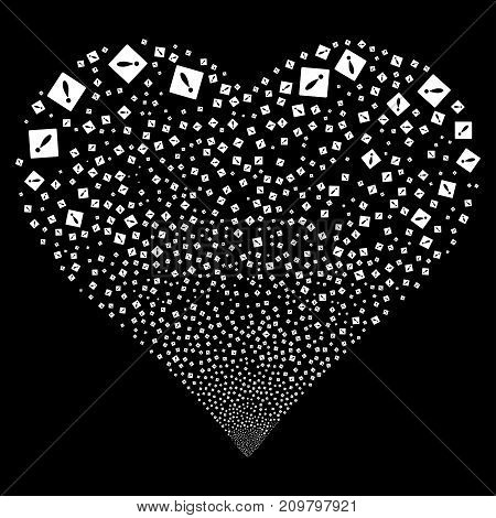 Error fireworks with heart shape. Vector illustration style is flat white iconic symbols on a black background. Object love heart made from confetti icons.