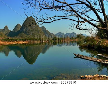 The Yulong River is a small tributary of the large Li River in Guangxi Zhuang Autonomous Region in China.