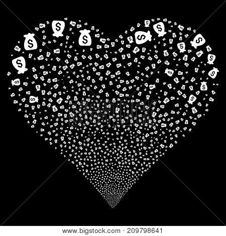 Financial Capital fireworks with heart shape. Vector illustration style is flat white iconic symbols on a black background. Object salute constructed from confetti design elements.